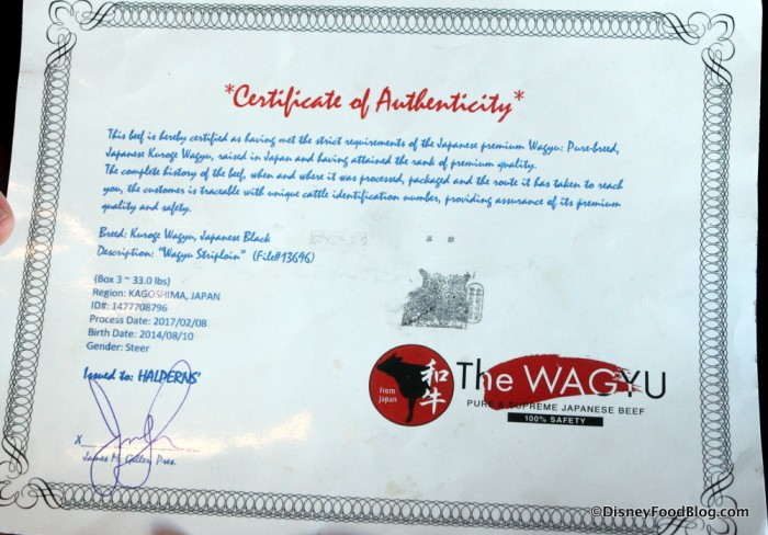 Wagyu Certificate of Authenticity