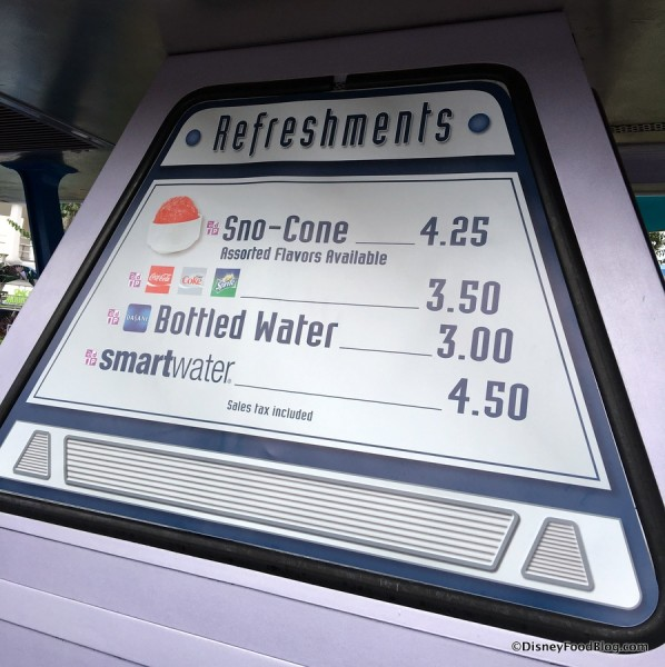 Snack Cart Menu