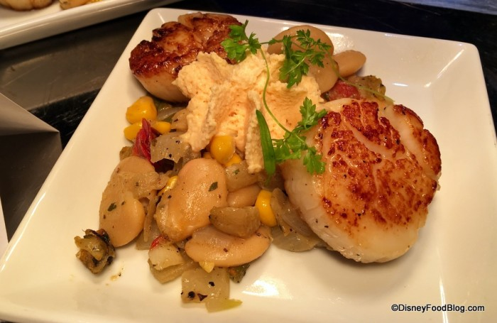 Seared Scallops with Roasted Corn and Butterbean Succotash and Chili-Chipotle Butter Sauce
