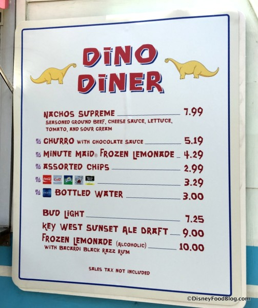 Dino Diner Menu