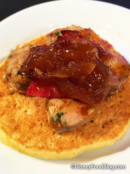 Sweet Pancake with Spicy Chipotle Chicken Sausage, Onion Jam and Maple Butter Syrup