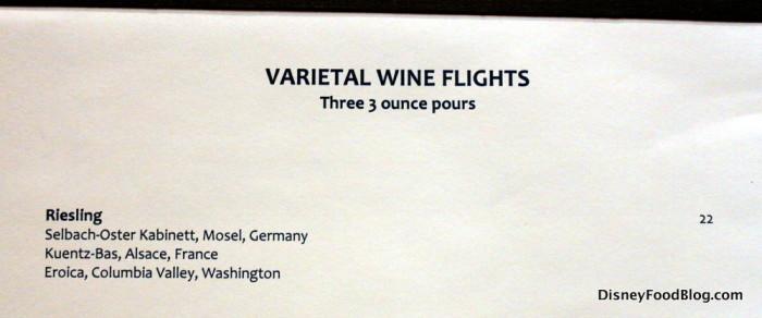 Riesling Flight Descriptions