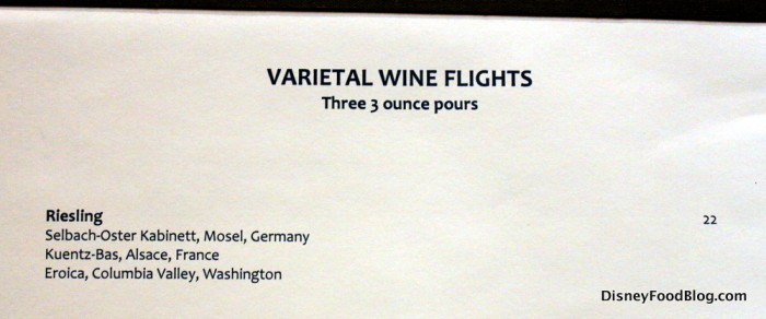 Riesling Flight Descriptions
