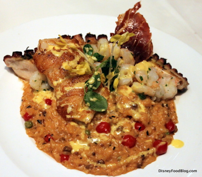 Seafood Trio -- Spanish Octopus, Chilean Sea Bass, and Key West Shrimp