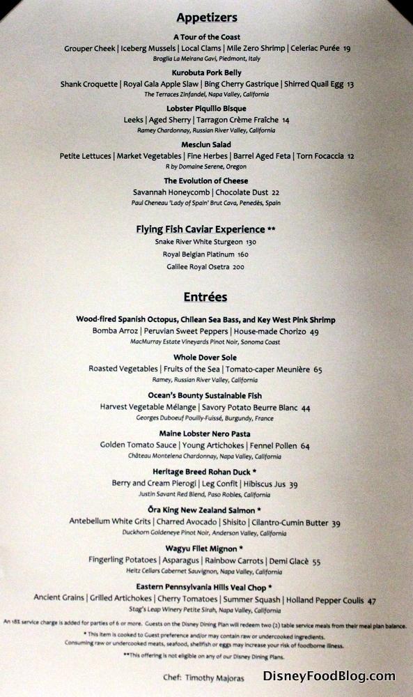 Review flying fish at disney s boardwalk inn the disney for Flying fish disney menu