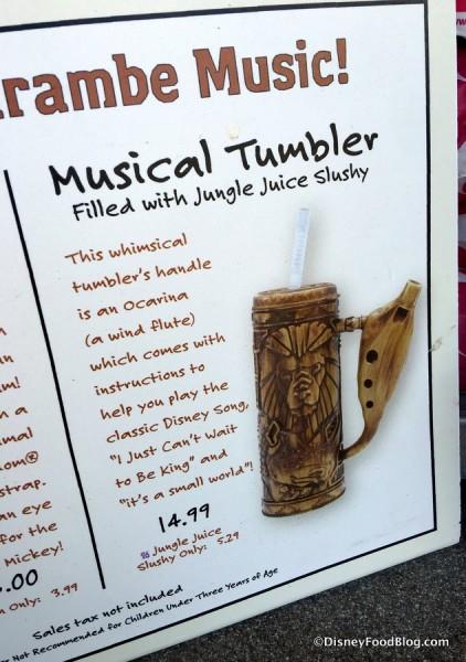 Musical Tumbler sign