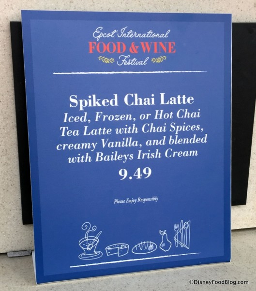 Spiked Chai Latte Menu