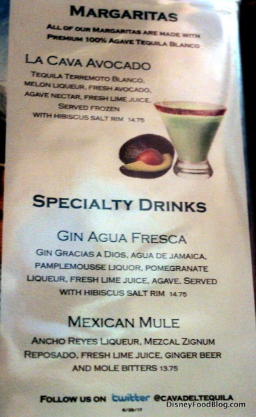 La Cava del Tequila Menu