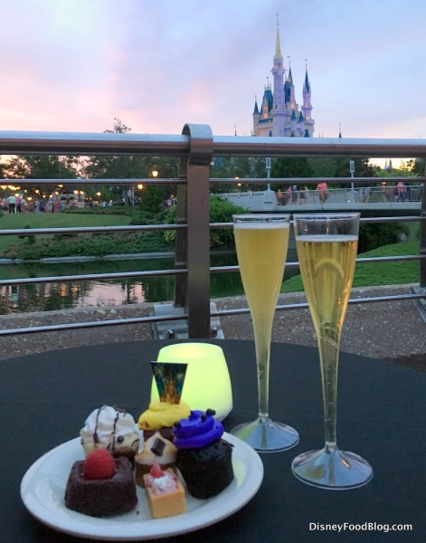 sparkling cider and desserts at fireworks dessert party in Magic Kingdom
