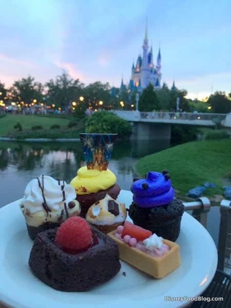 Desserts at the Happily Ever After fireworks dessert party
