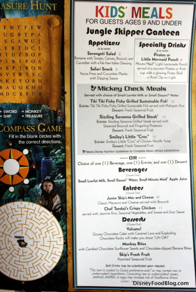 Skipper Canteen Kids' Menu