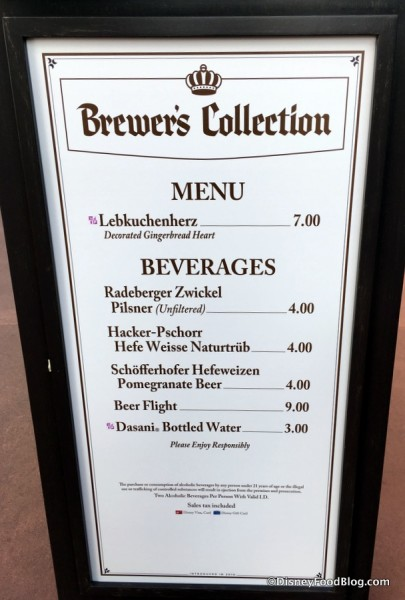 2017 Epcot Food and Wine Festival Brewers Collection Menu