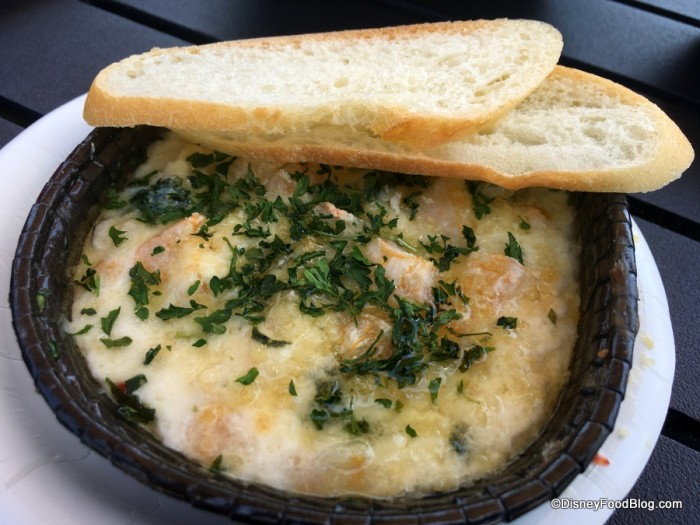 Baked Shrimp Scampi Dip with Sourdough Baguette