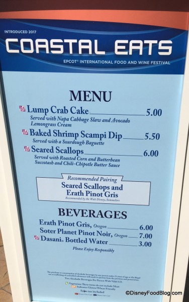 2017 Epcot Food and Wine Festival Coastal Eats Menu