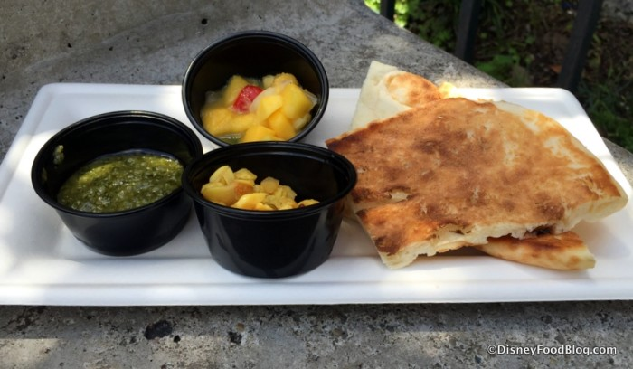 Warm Indian Bread with Pickled Garlic Mango Salsa and Coriander Pesto Dips