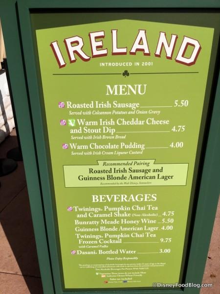 2017 Epcot Food and Wine Festival Ireland Menu