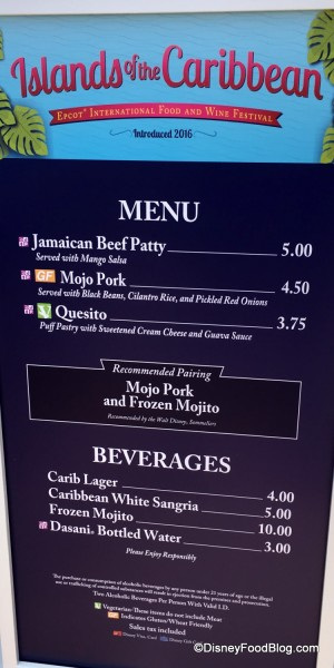 2017 Epcot Food and Wine Festival Islands of the Caribbean Menu