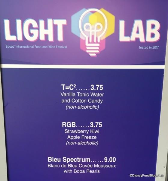 Light Lab Menu