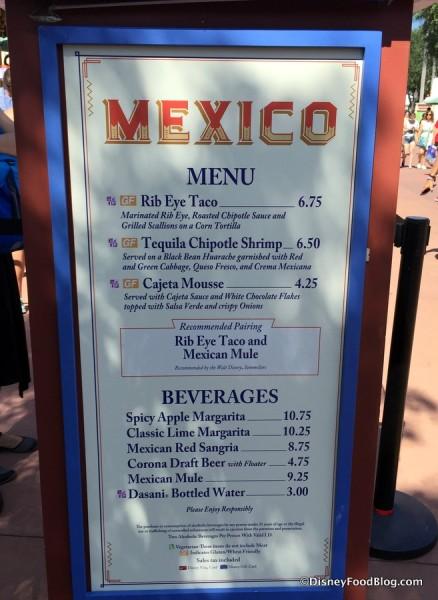 2017 Epcot Food and Wine Festival Mexico Menu