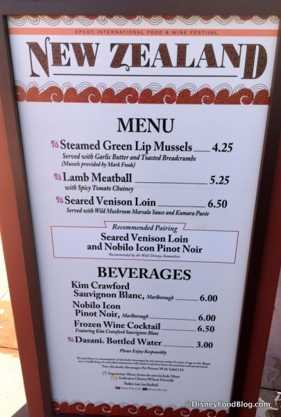 2017 Epcot Food and Wine Festival New Zealand Menu