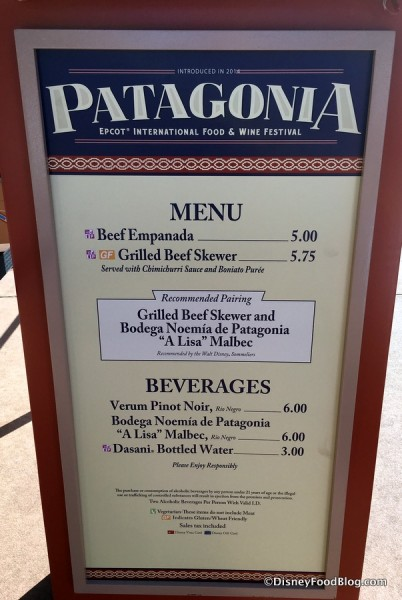 2017 Epcot Food and Wine Festival Patagonia Menu