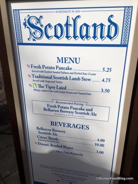 2017 Epcot Food and Wine Festival Scotland Menu