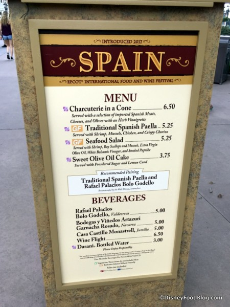 2017 Epcot Food and Wine Festival Spain Menu
