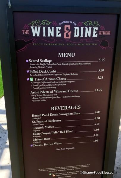 2017 Epcot Food and Wine Festival Wine and Dine Studio Menu