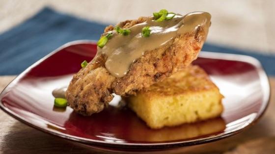 Crispy Chicken with Griddled Cornbread and Red Eye Gravy © Disney