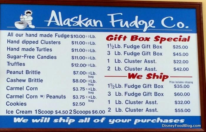 Alaskan Fudge Co. Menu