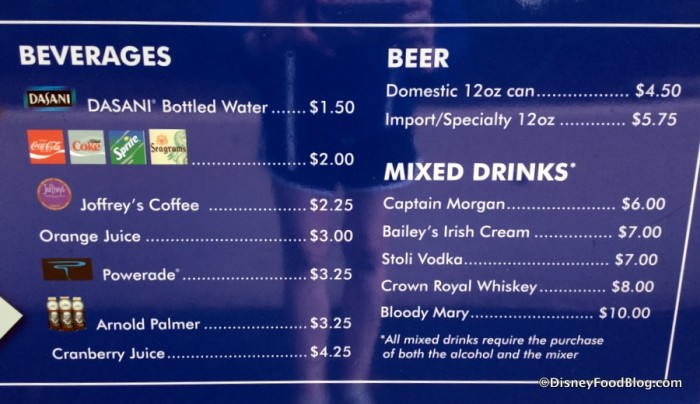 Mickey Refreshment Cart Menu