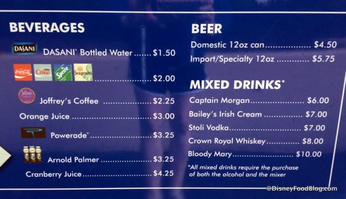 Mickey Refreshment Cart Menu