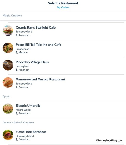 Select Restaurant List (Partial) on Mobile Order