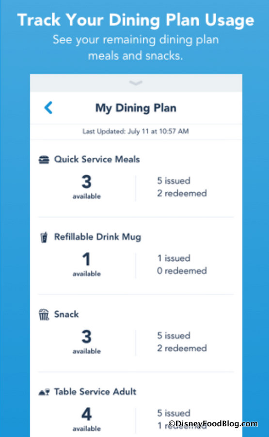 News Disney Dining Plan Credit Tracking Added To My Disney Experience App The Disney Food Blog
