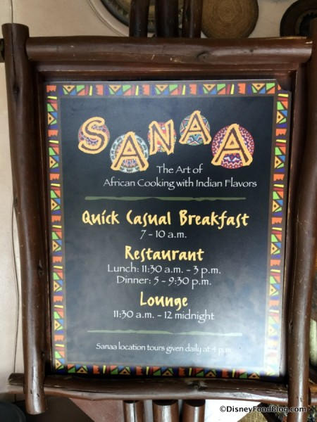 Sanaa Meal Time Sign