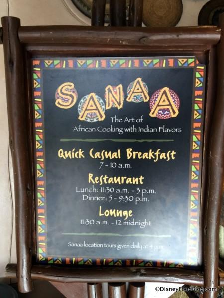 Sanaa Meal Time Sign