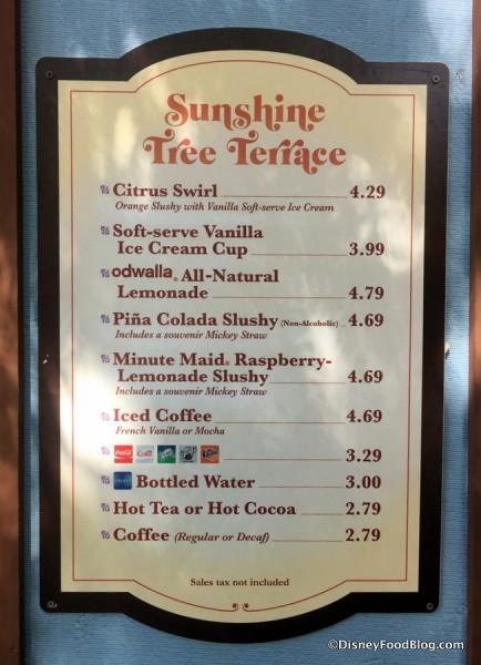 News citrus swirl orange float at sunshine tree terrace for Terrace restaurant menu