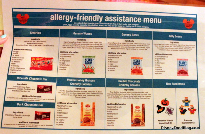 Allergy-friendly menu