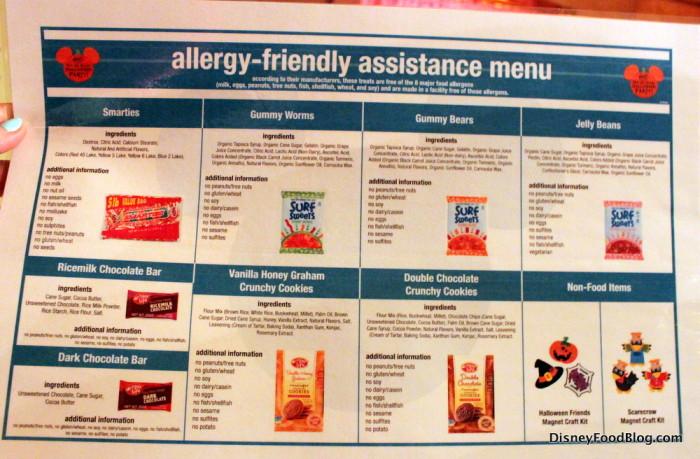 Allergy-friendly menu