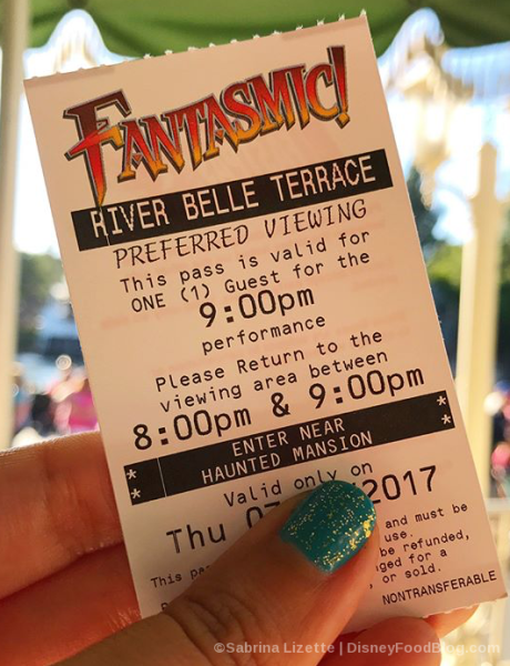 Fantasmic Dining Package Preferred Seating Ticket