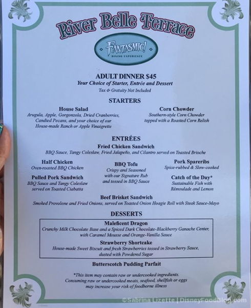Fantasmic Dining Package Menu