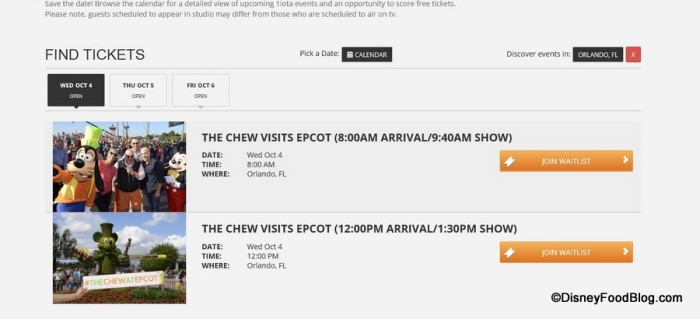 Epcot Taping Schedule Screenshot