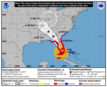Hurricane Irma map September 10