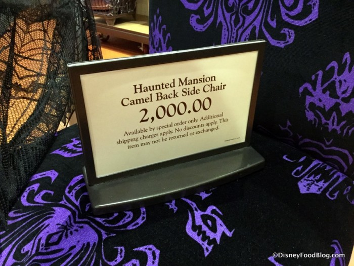 Haunted Mansion Camel Back Side Chair Sign