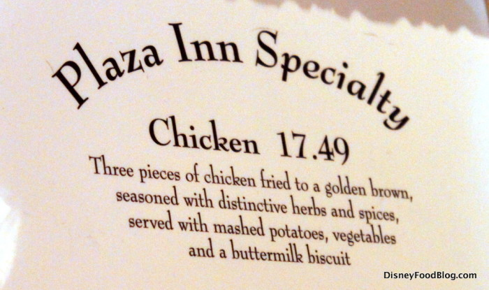 Plaza Inn Chicken Meal