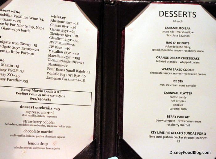 Dessert Menu -- Click to Enlarge