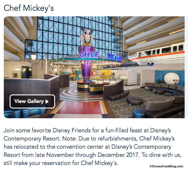 Screenshot from Disney World website