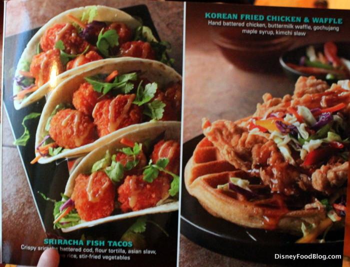 Menu Photos -- Sriracha Fish Tacos and Korean Fried Chicken and Waffle
