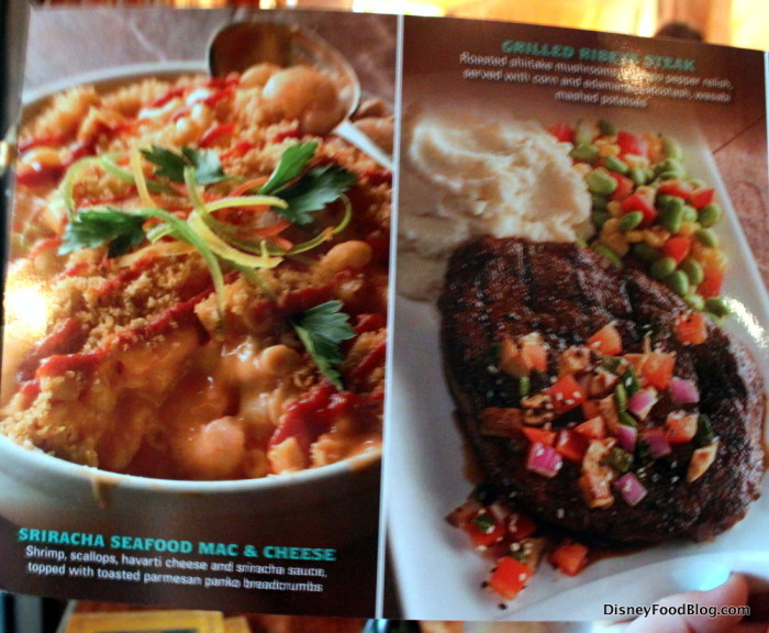 Menu Photos -- Sriracha Seafood Mac and Cheese and Grilled Ribeye
