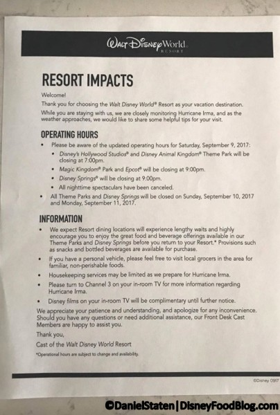 Information for guests staying at Disney World hotels